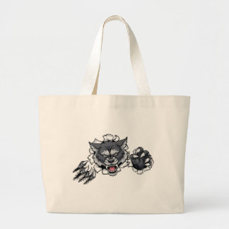 Wolf Animal Sports Mascot Breaking Background Large Tote Bag