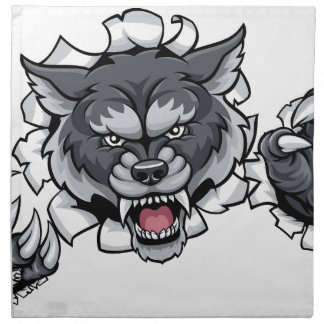 Wolf Animal Sports Mascot Breaking Background Napkin