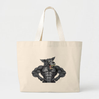 Wolf Animal Sports Mascot Large Tote Bag