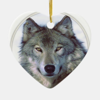 Wolf animal totem ceramic heart decoration