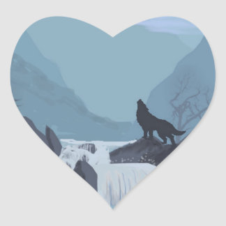 Wolf Art Heart Sticker