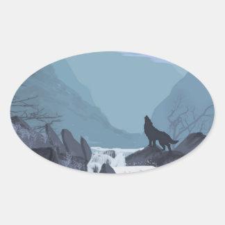 Wolf Art Oval Sticker