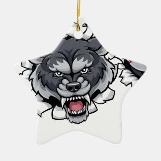 Wolf Baseball Mascot Breaking Background Christmas Ornament