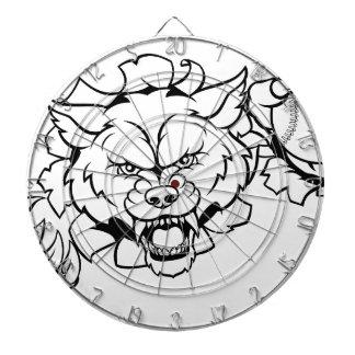 Wolf Baseball Mascot Breaking Background Dartboard