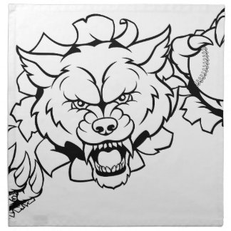 Wolf Baseball Mascot Breaking Background Napkin