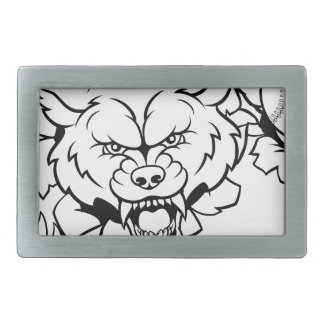 Wolf Baseball Mascot Breaking Background Rectangular Belt Buckle