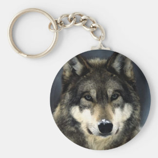 Wolf Basic Round Button Key Ring