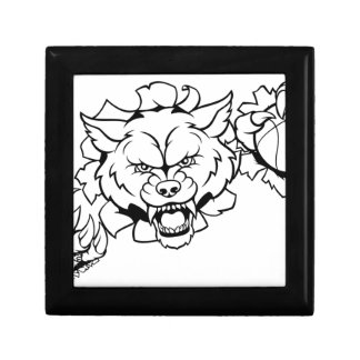 Wolf Basketball Mascot Breaking Background Gift Box