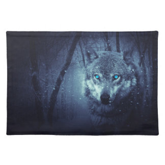 Wolf blue eyes placemat