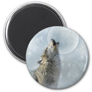 Wolf Blue Moon 6 Cm Round Magnet