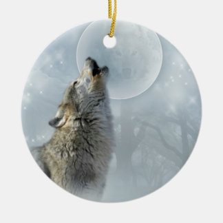Wolf blue Moon ceramic ornament