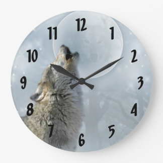 Wolf Blue Moon Clock