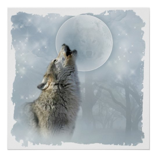 Wolf Blue Moon Poster