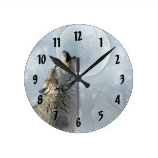 Wolf Blue Moon Round Clock