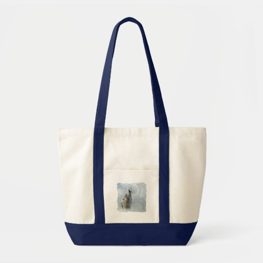 Wolf Blue Moon Tote Bag