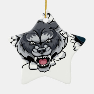 Wolf Bowling Mascot Breaking Background Christmas Ornament