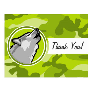 Wolf; bright green camo, camouflage post card