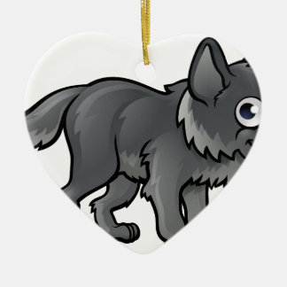 Wolf Cartoon Character Ceramic Heart Decoration