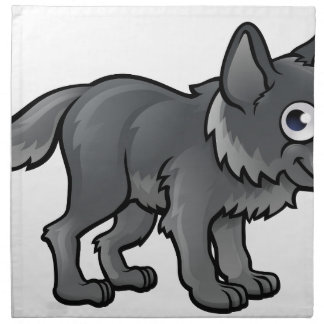 Wolf Cartoon Character Napkin