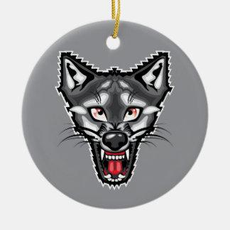 Wolf Cartoon Round Ceramic Decoration