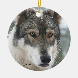 Wolf Ceramic Christmas Tree Ornament