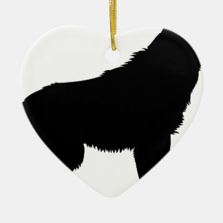 Wolf Ceramic Heart Decoration