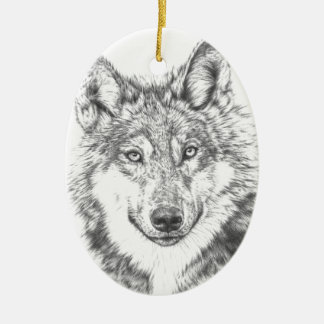 Wolf Ceramic Oval Decoration