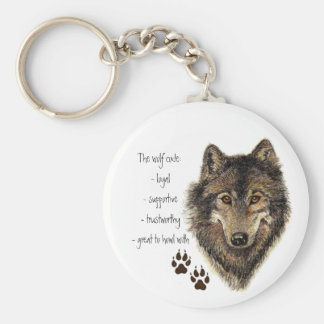 Wolf Code Quote, Wolves Animal Basic Round Button Key Ring