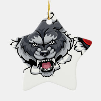 Wolf Cricket Mascot Breaking Background Christmas Ornament