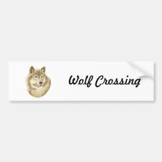 Wolf Crossing Bumper Sticker