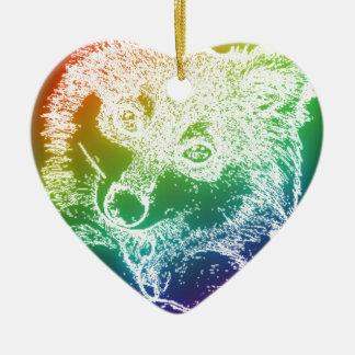 Wolf Cub Ceramic Heart Decoration
