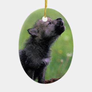 Wolf Cub Howling Christmas Ornament