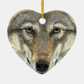 Wolf Design Ceramic Heart Decoration