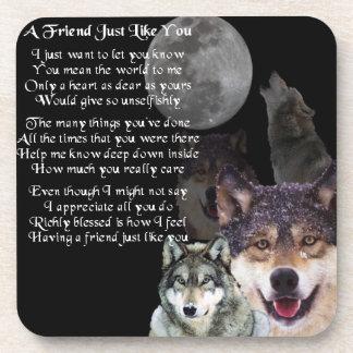 Wolf Design - Friend Poem Coaster