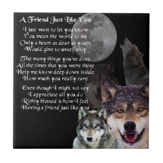 Wolf Design Friend Poem Tile