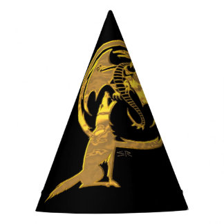Wolf & Dragon Gold black wizard party hat