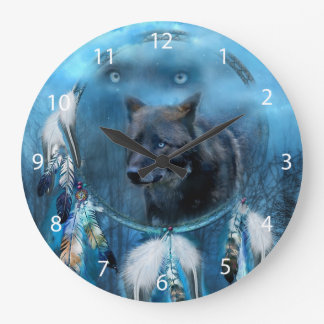 Wolf dreamcatcher - black wolf - wolf art large clock