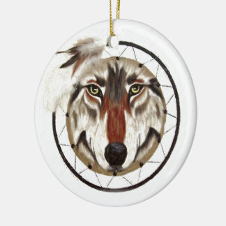 WOLF DREAMCATCHER CHRISTMAS ORNAMENT