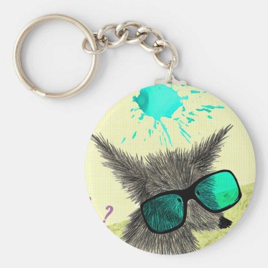 Wolf Dude Basic Round Button Key Ring