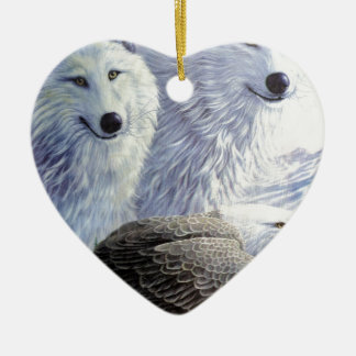 Wolf Eagle Animals Nature Park Office Business Art Ceramic Heart Decoration