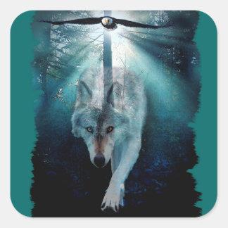 Wolf Eagle Clans Wildlife Art Square Sticker
