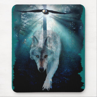 WOLF & EAGLE Wildlife Series Mouse Pad