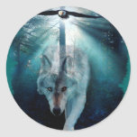 WOLF & EAGLE Wildlife Series Round Sticker