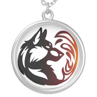Wolf Element Tribal -Fire- Silver Plated Necklace