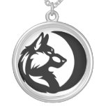 Wolf Element Tribal -Moon- Round Pendant Necklace