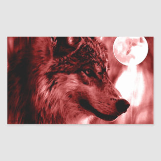 Wolf Eyes & Moon Rectangular Sticker