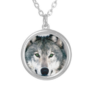 Wolf Eyes wild nature animal Print Silver Plated Necklace