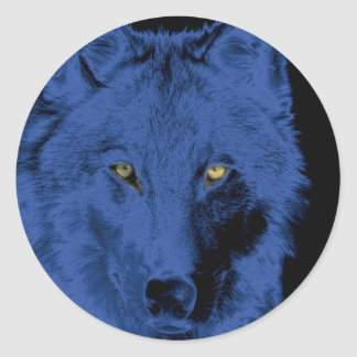 Wolf Face - Black & Blue Classic Round Sticker