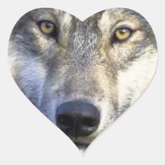 Wolf face close up heart sticker