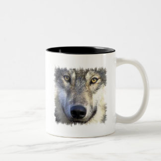 Wolf face close up Two-Tone coffee mug
